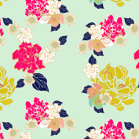 Jungle Passion Floral test mint background fabric by joanmclemore on Spoonflower - custom fabric