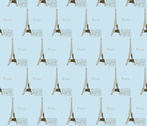 Paris Powder Blue with two French chairs-ch fabric by karenharveycox on Spoonflower - custom fabric