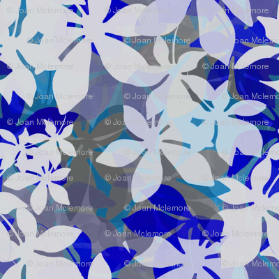 Jungle leaves in blue