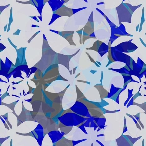 Jungle leaves in blue fabric by joanmclemore on Spoonflower - custom fabric