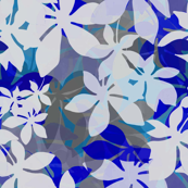 Jungle leaves in blue