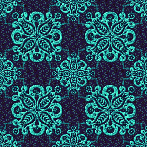 damask_purple_teal_1500 fabric by glimmericks on Spoonflower - custom fabric