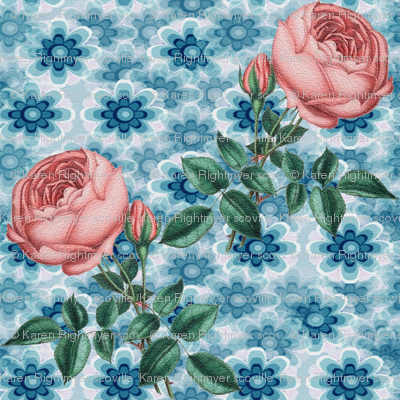 blue flowers -pink rose