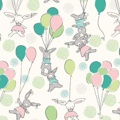 funny_bunny_love_a_float_spring fabric by stacyiesthsu on Spoonflower - custom fabric