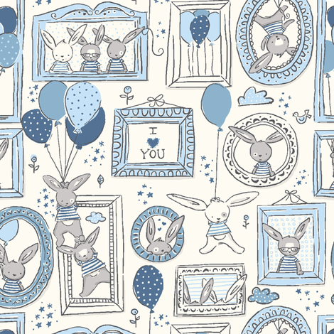 Funny_Bunny_Love_blue fabric by stacyiesthsu on Spoonflower - custom fabric