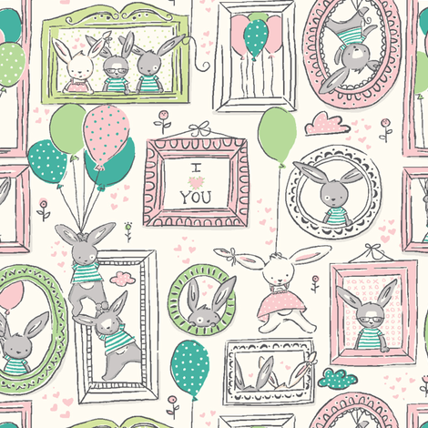 Funny_Bunny_Love_spring fabric by stacyiesthsu on Spoonflower - custom fabric