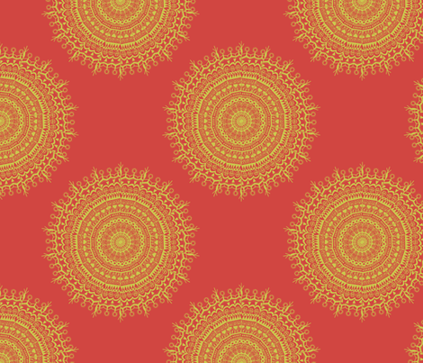 Medallion Red fabric by littlerhodydesign on Spoonflower - custom fabric