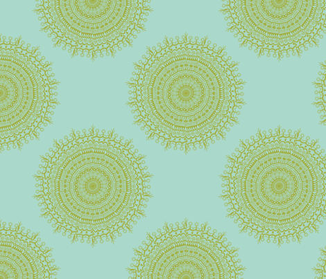 Medallion Seafoam fabric by littlerhodydesign on Spoonflower - custom fabric