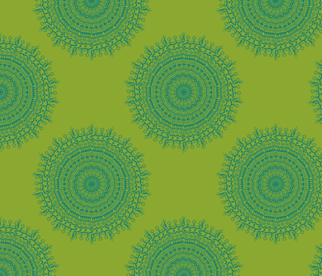 Medallion Lime fabric by littlerhodydesign on Spoonflower - custom fabric