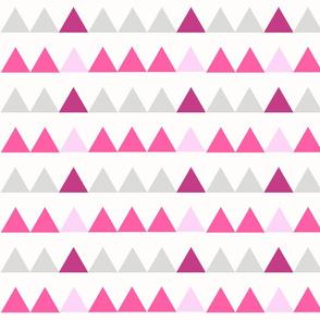 Pink Triangles - Pink, Fuchsia, Grey