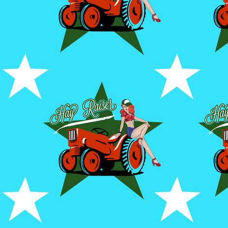 Hay Raiser Retro Farm Girl fabric by longfellow on Spoonflower - custom fabric