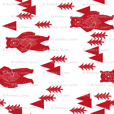 forest bear fabric // red nursery baby fabric