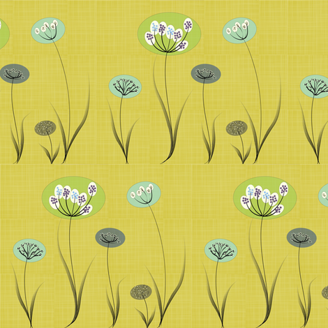 Modern_Flowers_Gold fabric by the_spun_angora on Spoonflower - custom fabric
