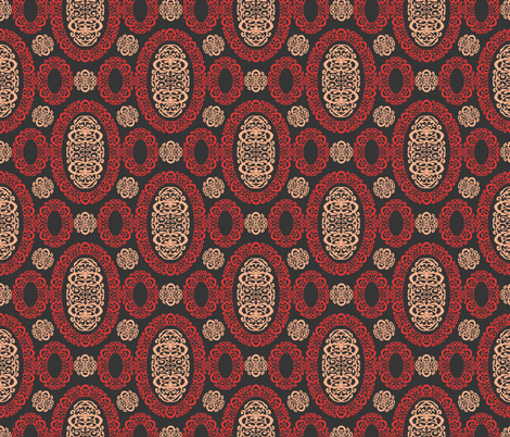 Intricate Cameos in Red and Charcoal fabric by fridabarlow on Spoonflower - custom fabric