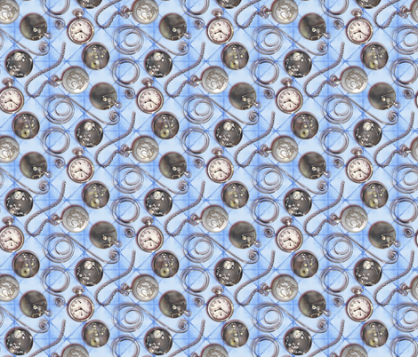 Pocketwatch--blue fabric by artgarage on Spoonflower - custom fabric