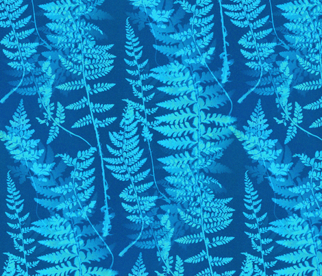 Ferns in Blue Cyanotype fabric by telden on Spoonflower - custom fabric