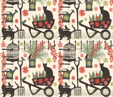 spring gardening  fabric by kociara on Spoonflower - custom fabric
