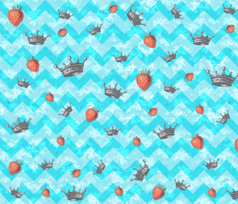 Crown Strawberry Chevron fabric by suznews on Spoonflower - custom fabric