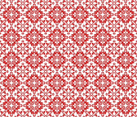 Freyja_forest_red_on_white fabric by bjornonsaturday on Spoonflower - custom fabric
