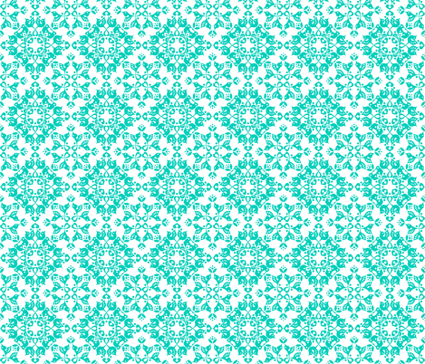 Freyja_forest_small_teal_on_white fabric by bjornonsaturday on Spoonflower - custom fabric