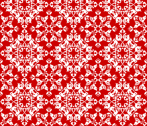 Freyja_forest_CC0000_red fabric by bjornonsaturday on Spoonflower - custom fabric