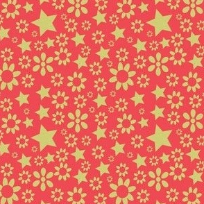 Red Stars and Flowers