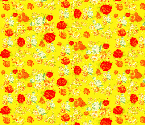 Vintage Rose Print on Yellow fabric by theartwerks on Spoonflower - custom fabric
