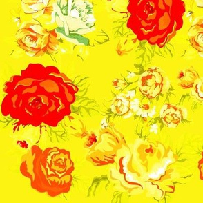 Vintage Rose Print on Yellow