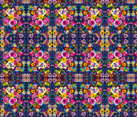 Les Fleurs // Navy  fabric by theartwerks on Spoonflower - custom fabric