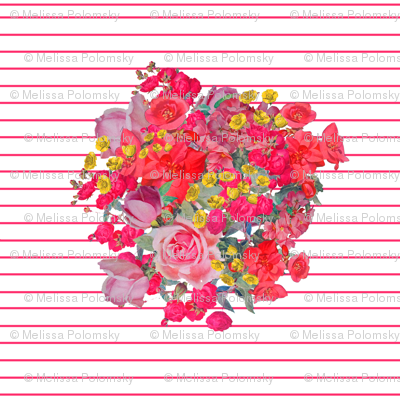 Vintage Inspired Floral Burst with Magenta Pinstripe
