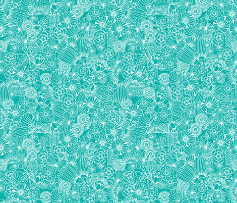 Strong Smart Beautiful ME aqua reverse fabric by gitchyville_stitches on Spoonflower - custom fabric