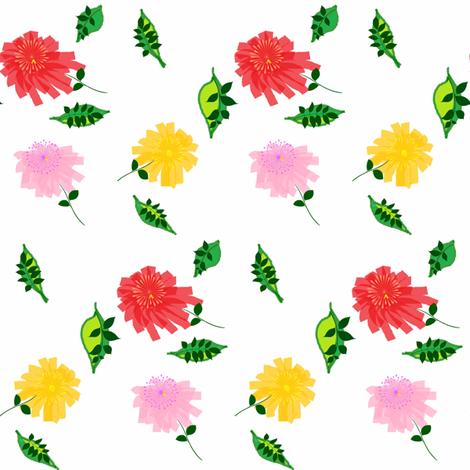 Pom Pom Chrysanthemums fabric by ravynscache on Spoonflower - custom fabric