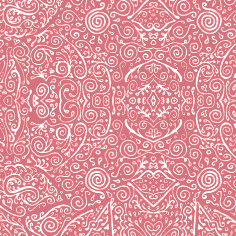 bridal mendhi - peach pink fabric by weavingmajor on Spoonflower - custom fabric