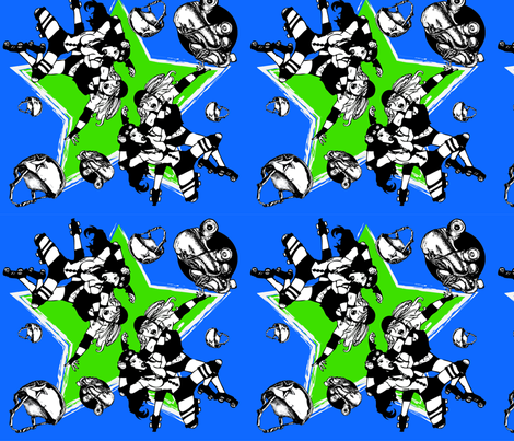 Roller Derby Girl Print fabric by t_n_penguin on Spoonflower - custom fabric