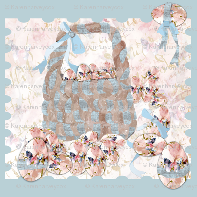 A_basket_of_shabby_chic_painted_eggs_on_blue