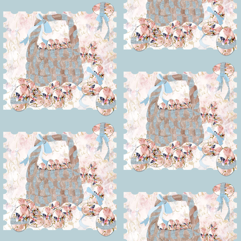 A_basket_of_shabby_chic_painted_eggs_on_blue fabric by karenharveycox on Spoonflower - custom fabric