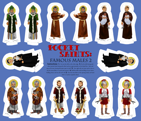 Pocket Saints Plushies : Famous Males PART TWO  fabric by littleliteraryclassics on Spoonflower - custom fabric