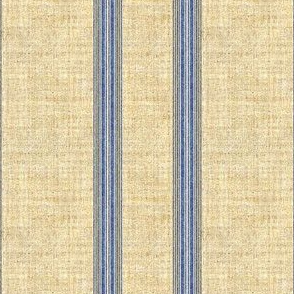 Grain Sack stripe in blue and linen
