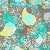 Beach paisley in turquoise, gray, soft chartruese