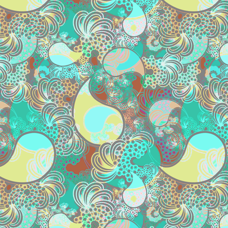 Beach paisley in turquoise, gray, soft chartruese fabric by joanmclemore on Spoonflower - custom fabric