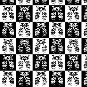 Chequered owls in black and white.
