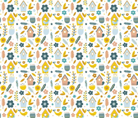Little Bird Houses fabric by joannehawker on Spoonflower - custom fabric