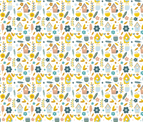Little Bird Houses fabric by joannehawker on Spoonflower - custom fabric