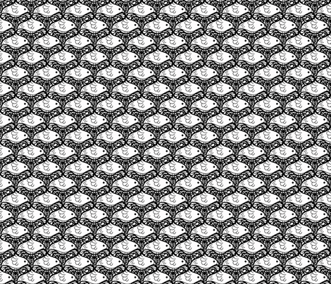 Bird and butterfly: can you see both? Black and White fabric by martaharvey on Spoonflower - custom fabric