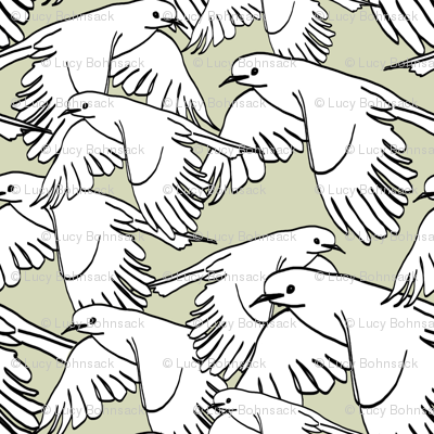 Flock of Birds Sage Gray