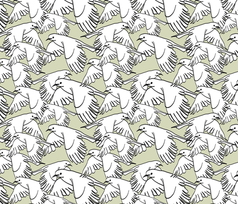 Flock of Birds Sage Gray fabric by lucyblaire on Spoonflower - custom fabric