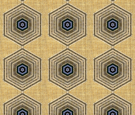 Hexagon Echo in Linen fabric by joanmclemore on Spoonflower - custom fabric