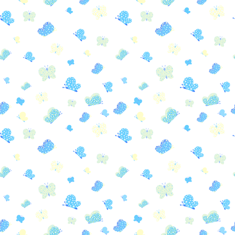 Blue And Yellow Butterfly Meadow Small Print fabric by freespirit2012 on Spoonflower - custom fabric
