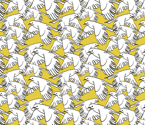 Flock of Birds Saffron Yellow fabric by lucyblaire on Spoonflower - custom fabric