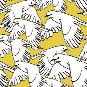 Flock of Birds Saffron Yellow